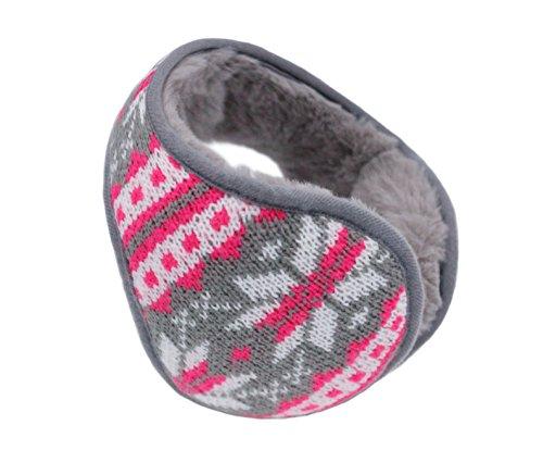 Iuway Unisex Knitted Foldable EarMuffs Fleece Lined Warm Ear Muffs Winter Outdoor EarMuffs (Gray) (Muffs Bandless Ear)