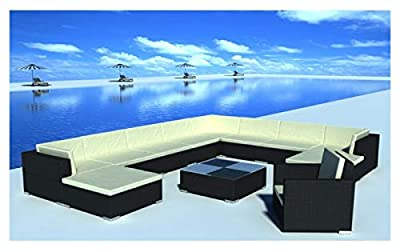 K&A Company Outdoor Furniture Set, 12 Piece Garden Lounge Set with Cushions Poly Rattan Black