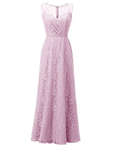 ALAGIRLS Women's Long Lace Bridesmaid Dresses Wedding Party Gowns With Buttons Blush US12