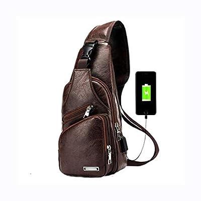 HomyDelight Travel & Storage Bag, Men's Anti Theft Crossbody Bag USB PU Charging Shoulder Bag Camping Chest Waist Pack, S Dark Brown