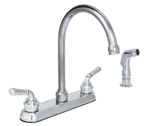 Huntington Brass 63238-01 2-Handle High Arc 8-Inch Kitchen Faucet with Side Spray, Chrome