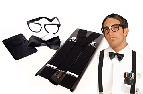 Baseball Themed Halloween Costumes (Unisex Instant Nerd Costume & Accessory Kit by Express Novelties Online)