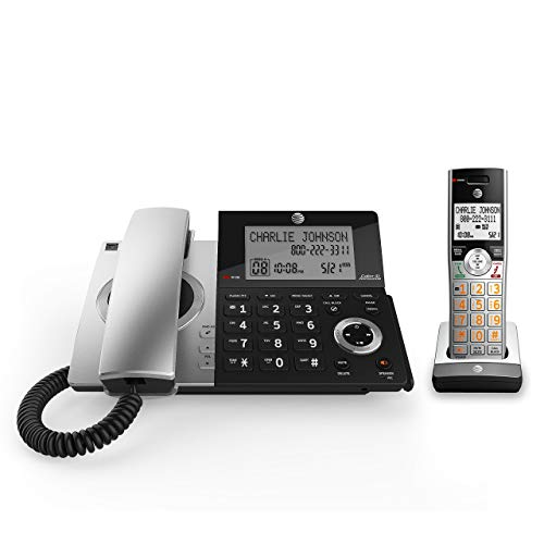 AT&T CL84107 DECT 6.0 Expandable Corded/Cordless Phone with Smart Call Blocker, Black/Silver with 1 Handset (Renewed) by AT&T (Image #1)