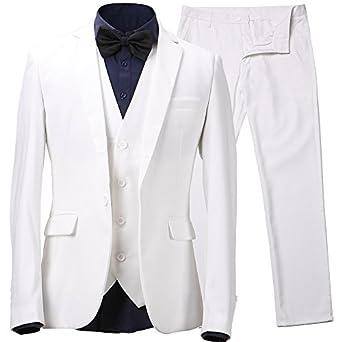 Herren Anzug Slim Fit 3 Teilig mit Weste Sakko Anzughose