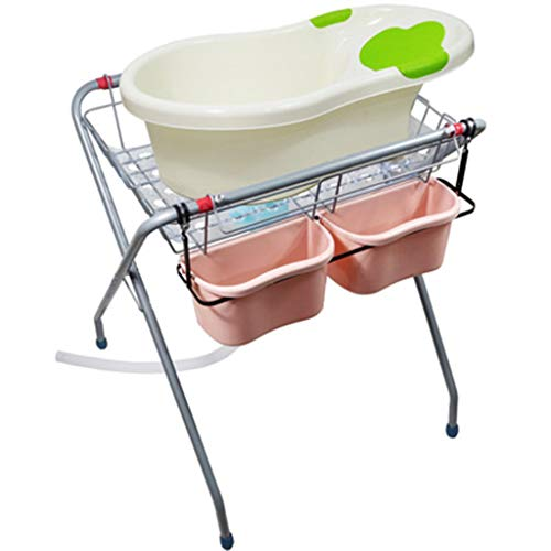 Baby Bather Bath Tub Stand, Shower Basin Non Toxic Portable Features Adjustable Height/Seat Belt/Multi-Function