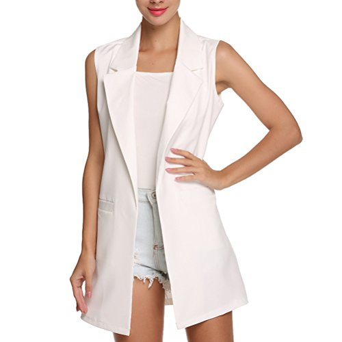 Laixing Bonne Qualit Women's Fashion Manches longues Vest Slim Fit Vogue Waistcoat Long Coats Vest white