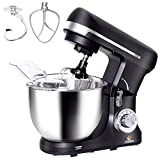 Stand Mixer,Posame Dough Mixer Cake/Bread Kneading Machine,Professional Kitchen Electric Mixer Tilt-Head with 5 Quarts Stainless Steel Bowl,Dough Hook,Whisk,Beater,Pouring Shield,500-Watt,Black