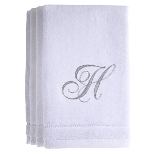 Hand Towel Gift Set - Monogrammed Towels Fingertip, Personalized Gift, 11 x 18 Inches - Set of 4- Silver Embroidered Towel - Extra Absorbent 100% Cotton- Soft Velour Finish - For Bathroom/ Kitchen/ Spa- Initial H (White)
