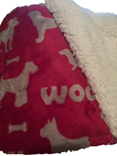 Red Bone Hound Dogs (Opulence Pet Throw Blanket - Red with Gray Dogs Woof! Sherpa Lined)