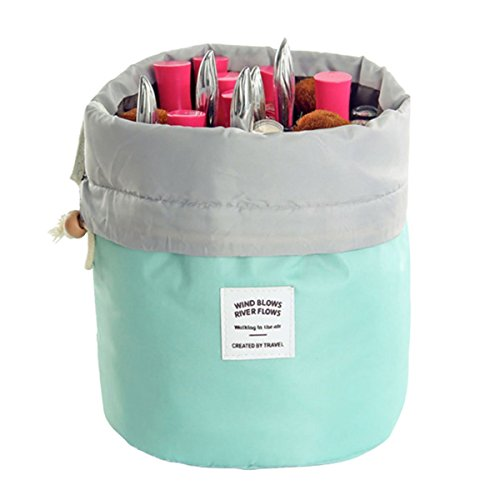 Travel Cosmetic Bags Barrel Makeup Bag,Women &Girls Portable Cosmetic Cases,Euow Multifunctional Toiletry Bucket Case Make up Organizer Storage pocket Soft Collapsible ,Waterproof (Lightblue)