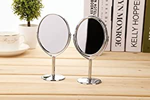 Adecco LLC Mini Stainless Steel Two-Sided 2X Magnification Personal Portable Makeup Mirror Swivel Round Facial Mirror (oval mirror)