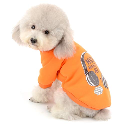 SELMAI Doggie Puppy Sweatshirt Fleece Lined Dog Basic Cotton Sweater 2 Legs Pullover Casual Warm Outfits Autumn and Winter Small Pet Cat Chihuahua Yorkie Apparel Orange S