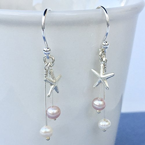 Pink And White Pearls Earrings With Starfish Sterling Silver Charm and Freshwater Pearls For (Turquoise Starfish Earrings)