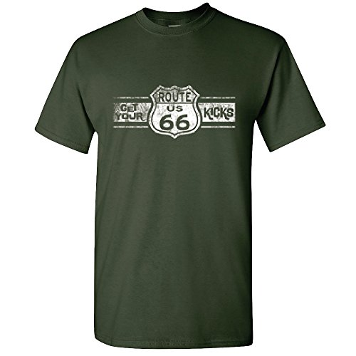 Amazing Items Historical Route 66 Distressed Vintage Graphic Men's T-Shirt, X-Large, Forest (Route 66 Halloween)