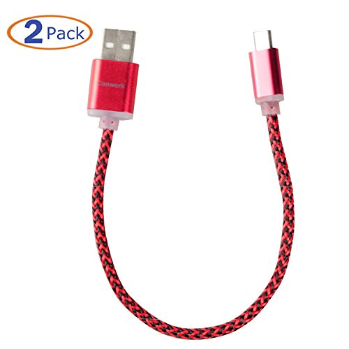 Micro USB to USB Cable, Conwork [2 Pack] 8 inch [Colorful Nylon Braided Fabric] Micro USB Charging & Sync Data Charger Cable Cord for Android and More (Red) Credit Crunch Christmas