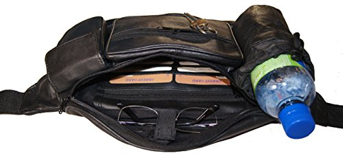 Premium Leather Fanny Pack Travel Waist Belt Bag Pouch Hydration Bottle Holder by Wallet (Image #1)