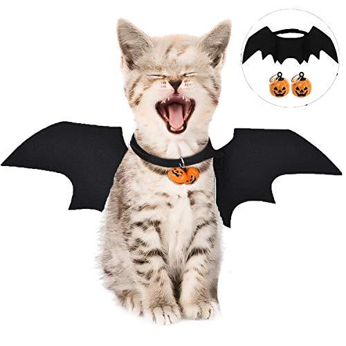 Katze Bat Wings Kostüm, Halloween Katze Kleidung, Pet Hund Bat Wings Katze Fledermaus Kostüm,Katze Fledermaus Kostüm, Haustier Fledermausflügel mit 2Pcs Pumpkin Bell(Pet Hund Bat Wings Bat Wings)
