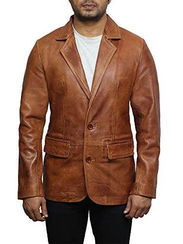 - Brandslock Mens Italian Lamb Skin Genuine Leather Blazer Jacket BNWT (Medium, Tan)