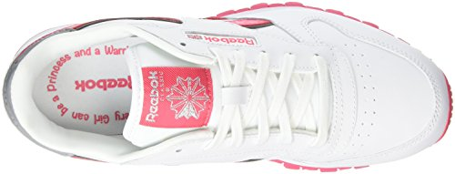 Reebok Cl Leather Reflect, Zapatillas de Running Para Niñas Blanco / Rosa / Plateado (White/Fearless Pink/Silver Met)