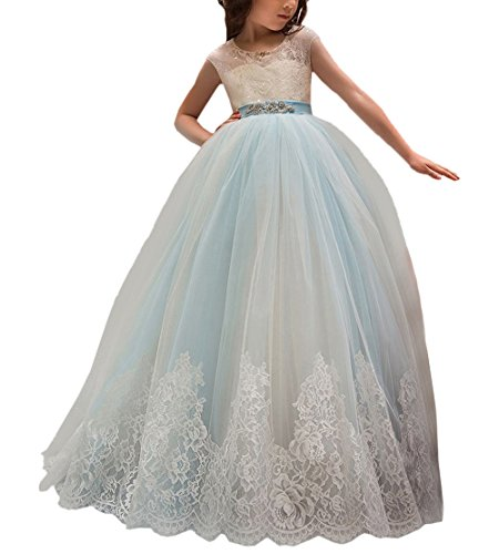 - Flower Girl Dress for Wedding Kids Lace Pageant Ball Gowns (Size 8, Wathet Blue)