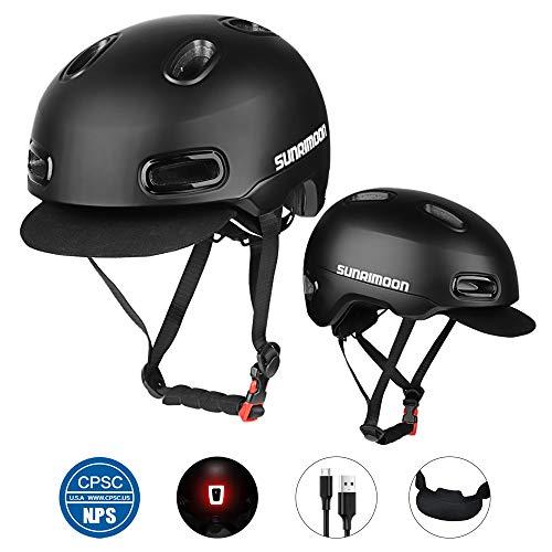 SUNRIMOON Commuter Bike Helmet - Anti-Theft Design USB Safety Taillight Detachable/Adjustable Soft Hat Retro Sleek Urban Leisure Road Bicycle Cycling Helmet for Adult Men/Women - Black