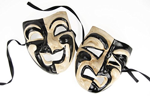 Comedy/Tragedy Mask Set (Black/Off White) by Largemouth