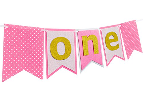 Pink1st Birthday Party Supplies Decorations-First Happy Birthday Banner For Girl