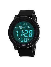 Winhurn Mens Waterproof Digital Quartz LED Watch Military Sport (Black)