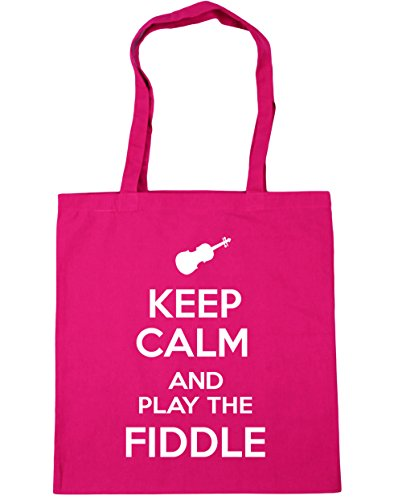 HippoWarehouse Keep Calm and Play the Fiddle Tote Shopping Gym Beach Bag 42cm x38cm, 10 litres Fuchsia