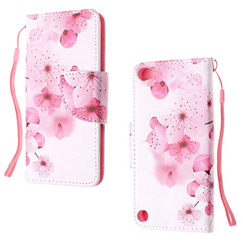 Casii iPod Touch 5 Case,iPod Touch 6 Case,Stand Flip Wallet Purse Credit Card ID Holders Premium PU Leather Cute Case Hand Strap Cover for Apple iPod Touch 5th/6th Generation,Pink Flower ()