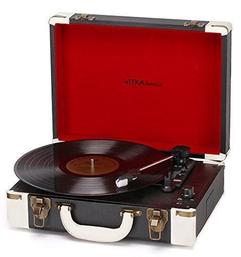 Holiday Gifts Black & White Portable Turntable Suitcase USB Record Player Ambassador Vitkatronics