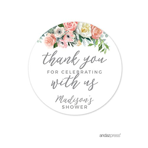 Andaz Press Peach Coral Floral Garden Party Wedding Collection, Personalized Round Circle Label Stickers, Thank You for Celebrating With Us, 40-Pack, Custom Name by Andaz Press