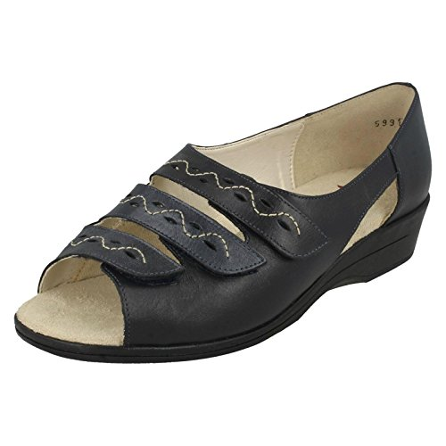 Pewter Navy Pearl Sandals Navy Equity Navy Leather Ladies Velcro Semele qwx0HZR4F