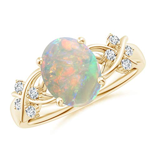 Solitaire Oval Opal Criss Cross Ring with Diamonds in 14K Yellow Gold (10x8mm Opal)