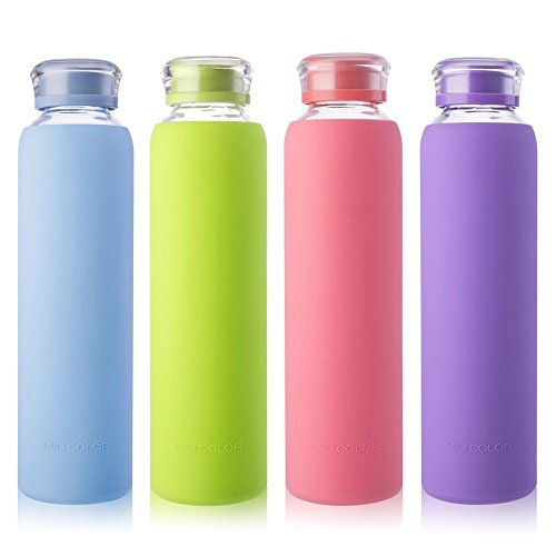 MIU COLOR Glass Water Bottles, Beverage Glass Juice Bottles, Drinking, Juice Bottle, Milk Container, to Go Sports, 16 oz, BPA Free (Lime)…
