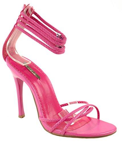 Chaussures Celeste Femmes Grace-03 Escarpins À Talons Hauts À Bout Ouvert Avec Bretelles À La Cheville Longueur Fuchsia