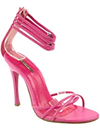 Shoes Womens Grace-03 Open Toe High Heel Pumps with Straps at Ankle Length