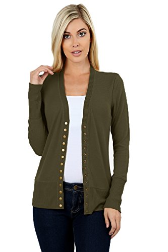 JNTOP Women's Women's V-Neck Long Sleeve Soft Basic Knit Snap Cardigan Olive Small
