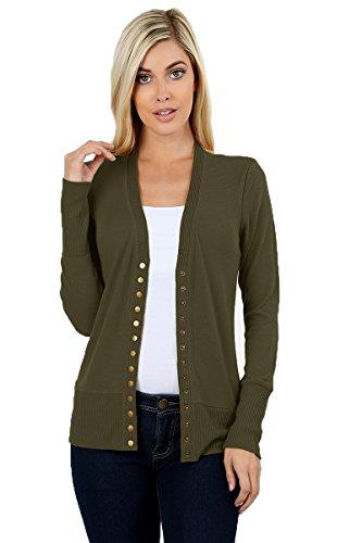 JNTOP Women's Women's V-Neck Long Sleeve Soft Basic Knit Snap Cardigan Olive ()