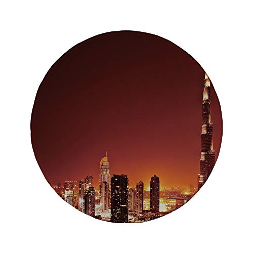 Non-Slip Rubber Round Mouse Pad,Landscape,Arabic Dubai Downtown with Cityscape Skyscrapers Sunset Middle East City Photo,Multicolor,7.87