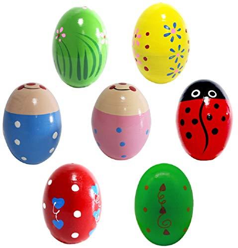 Kunyida 7Pcs Wooden Percussion Musical Egg Maracas Egg Shakers