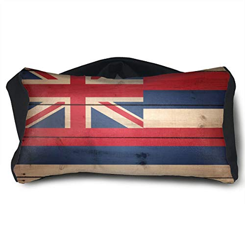 GLing-LIFE Hawaii State Flag Wood Texture Portable Voyage Pillow Travel Pillow and Eye Mask 2 in 1 Neck Head Support for Airplanes, Cars, Office Naps, Camping, Trains by GLing-LIFE