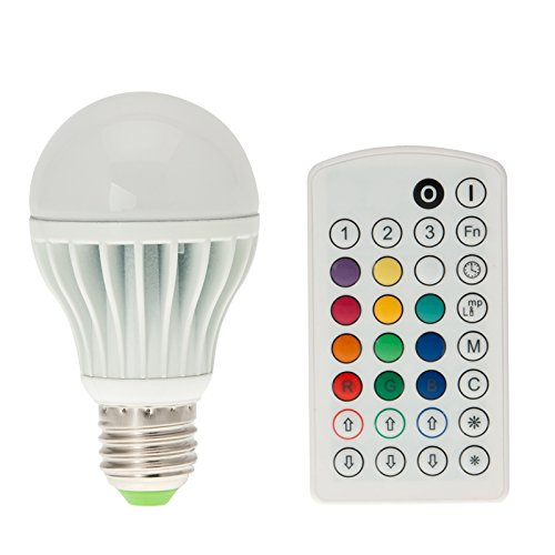 HERO-LED RGB Multicolor A19 9W E26 LED Lamp, 12 Colors Optional, Flash Strobe Smooth Modes, Dimming, Speed, Recall, Memory, Reset and Sleep Functions, Voice/Music Control, with Remote Controller.