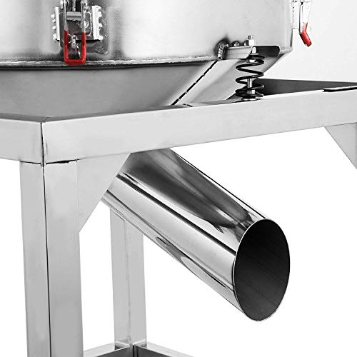 Happibuy Automatic Powder Sifter Shaker Machine 110V 300W Flour Sieve Machine Stainless Steel 2 Screens Industrial (Silver) by Happibuy (Image #3)