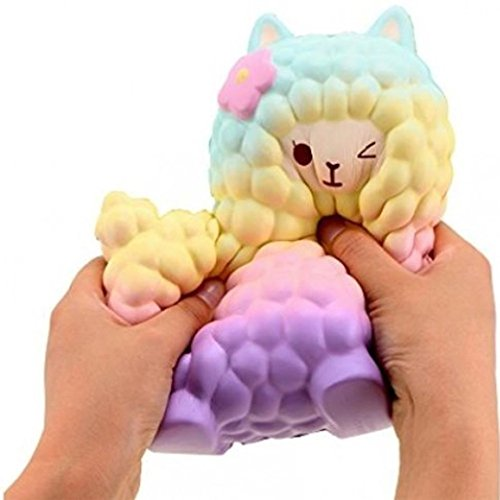 Jumbo Sheep Squishy Cute Alpaca Galaxy Super Slow Rising Scented Fun Animal Toys Decompression Squeeze Toys Dolls for Collection Gift by Sunfei (Colorful)