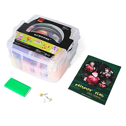 Polymer Clay Set – 46 Colors Modeling Clay Soft and Nontoxic DIY Oven Bake Clay Kit with Modeling Tools and Storage Box, Birthday for Kids (Multicolor)