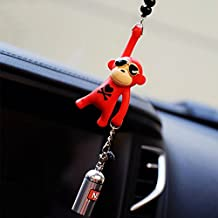 YGMONER Wearing Sunglasses Monkey Car Charm Interior Rear View Mirror Hanging (red & nitrogen bottle)