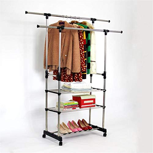 Stainless Steel Single Pole Double Pole Drying Rack Floor Movement Lifting Telescopic Household Items