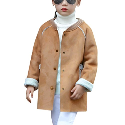 YISUMEI Big Girls Wool Cotton Jacket Long Blend Coats Winter Warm Overcoat Yellow S