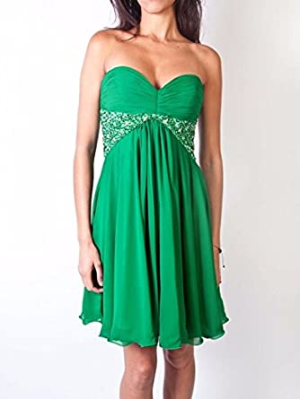 LORÉ Crystal embellished prom dress in emerald green: Amazon.co.uk: Clothing